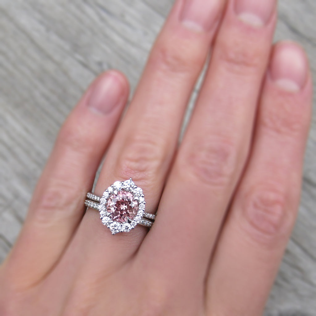 Peach champagne sapphire vintage halo ring in platinum with pavé diamonds