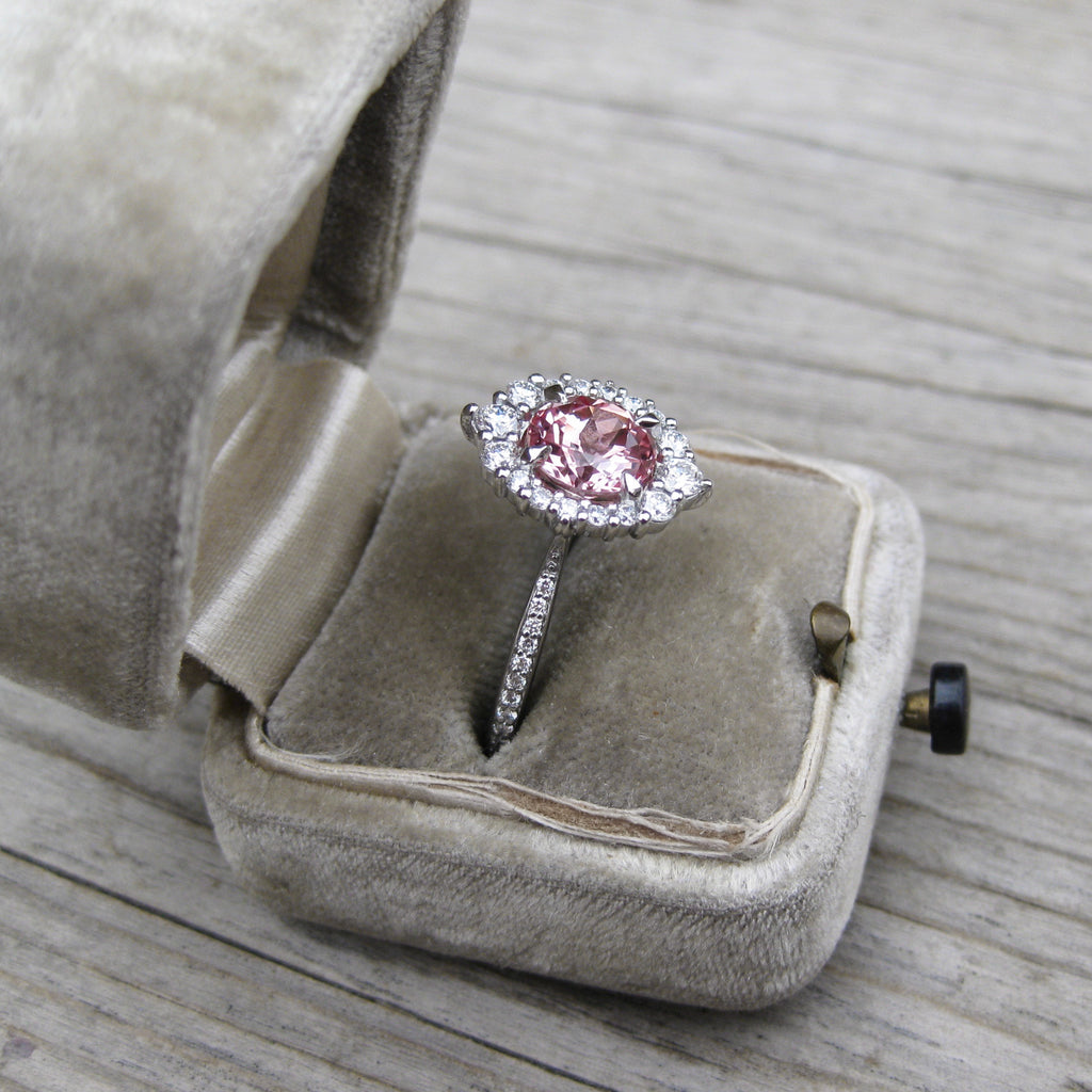 Chatham Champagne Sapphire Engagement Ring with Diamond Halo, by Kristin Coffin Jewelry