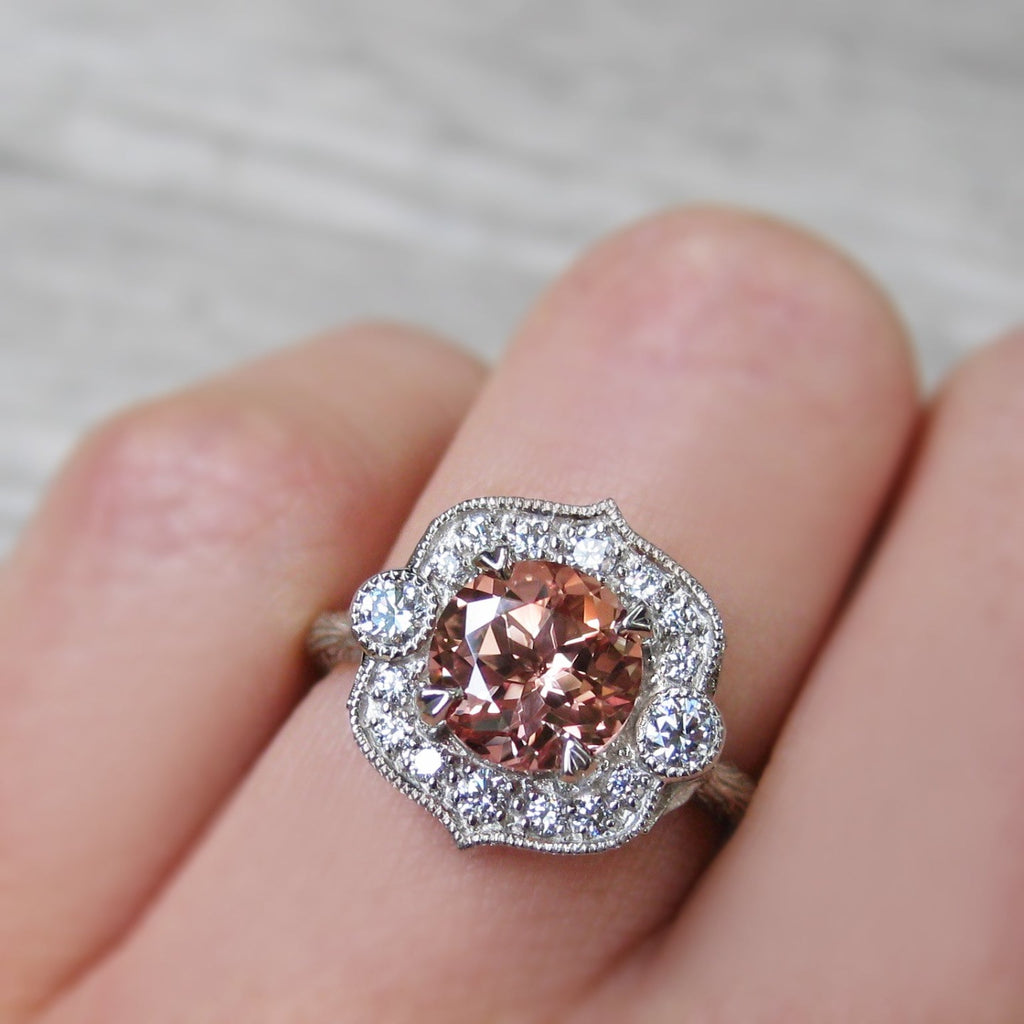 lab grown peach sapphire vintage halo ring + conflict-free diamonds in rose, white, or yellow gold