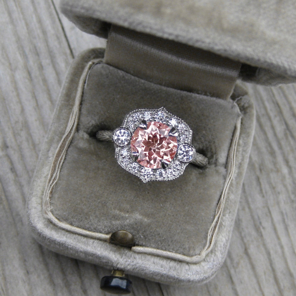 cultured peach sapphire vintage halo ring + conflict-free diamonds in rose, white, or yellow gold