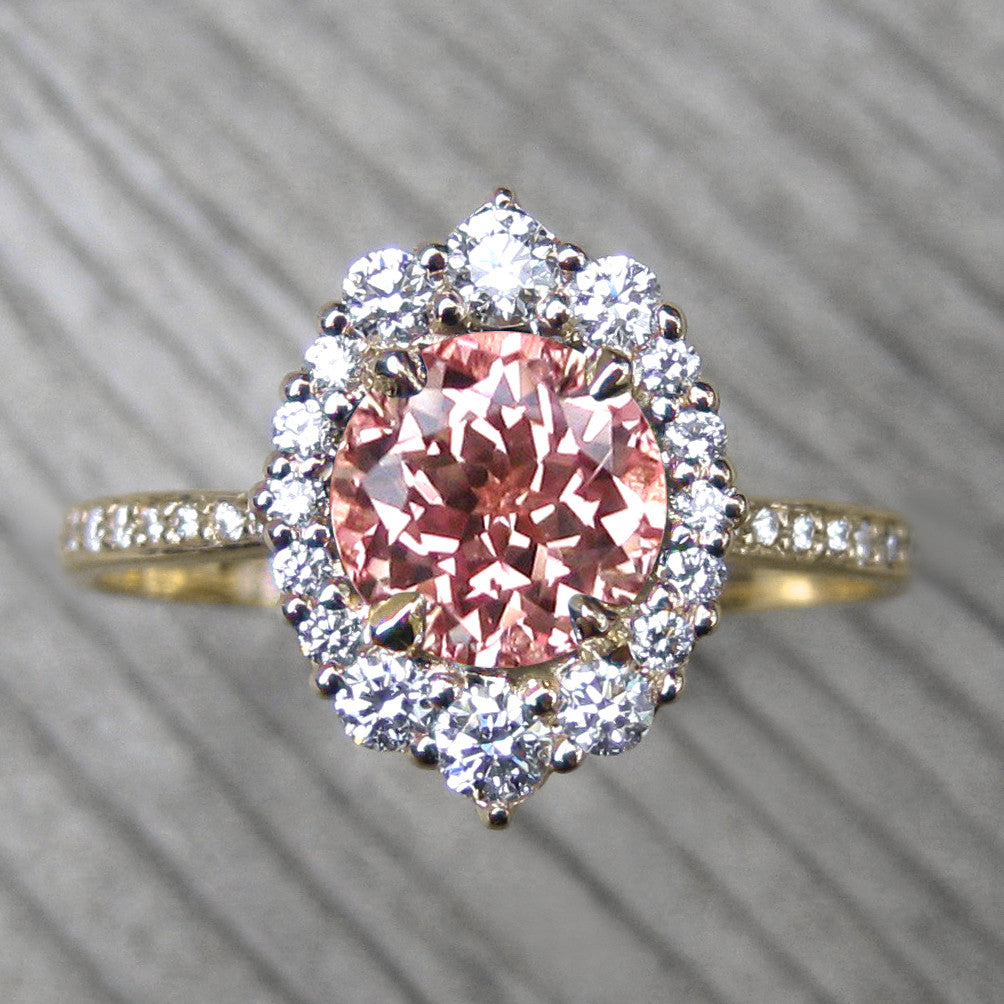 pink sapphire vintage halo ring + conflict-free diamonds in yellow gold