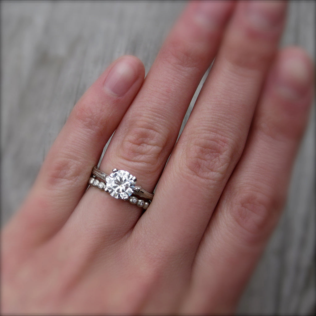 Twig solitaire engagement ring with lab grown diamond with stackable twig band
