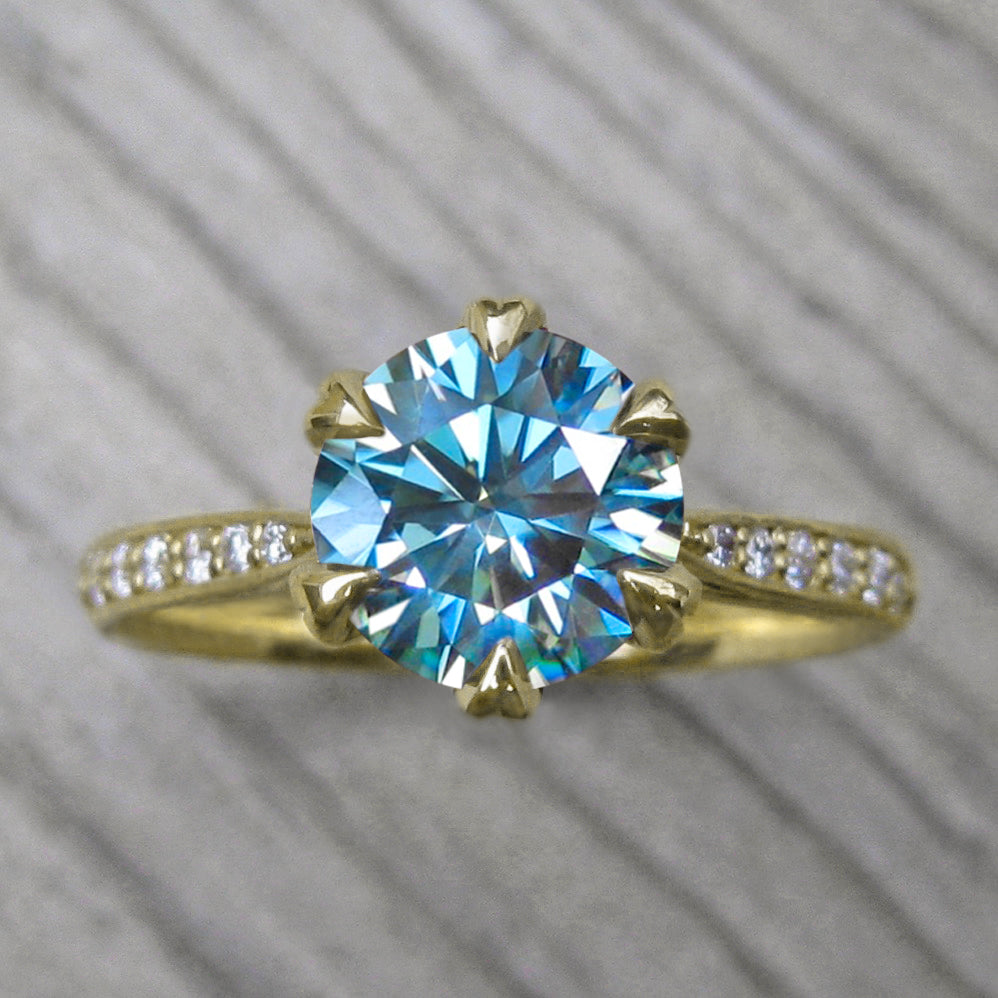 <center><strong>・LEONA・</strong><br></center>Aqua-Teal Iconic™ Moissanite, Plain or Diamond Band (1.25ct Center)