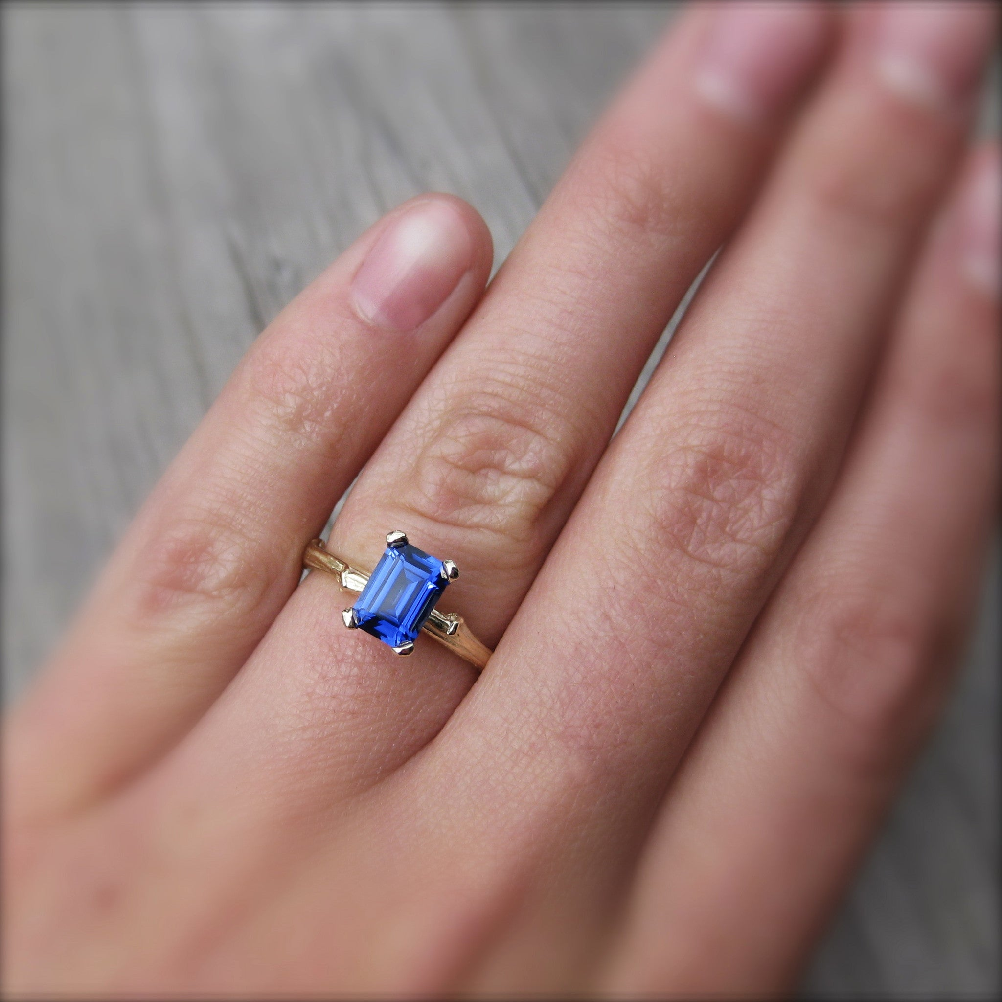 Emerald Cut, Cultured Blue Sapphire, Twig Engagement Ring; 1.25ct ...