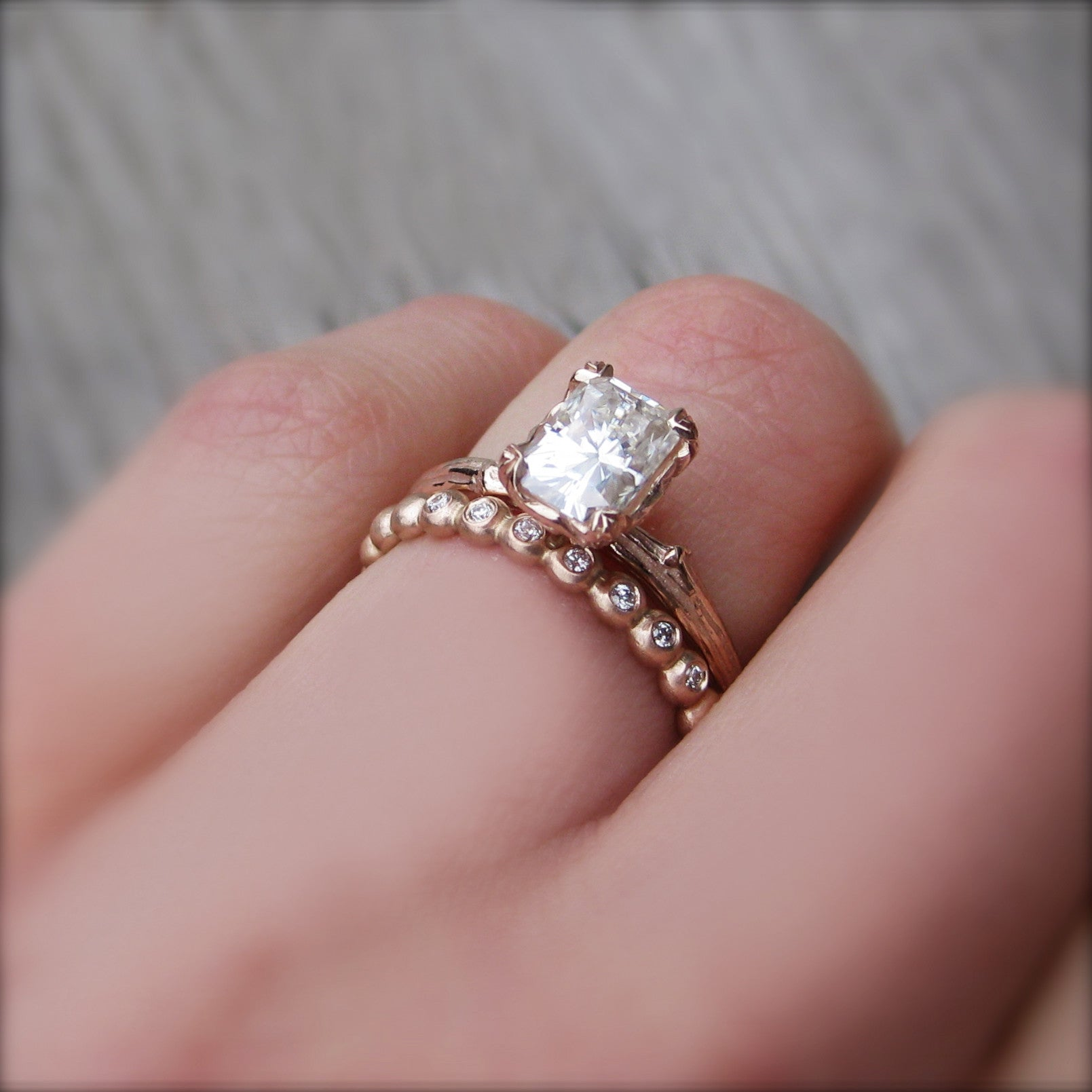 Radiant Cut Forever One or Supernova Moissanite Twig Engagement Ring ...