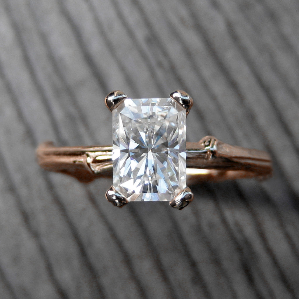 Reserved: Radiant Forever Brilliant™ Moissanite Twig Engagement Ring (1.2ct)