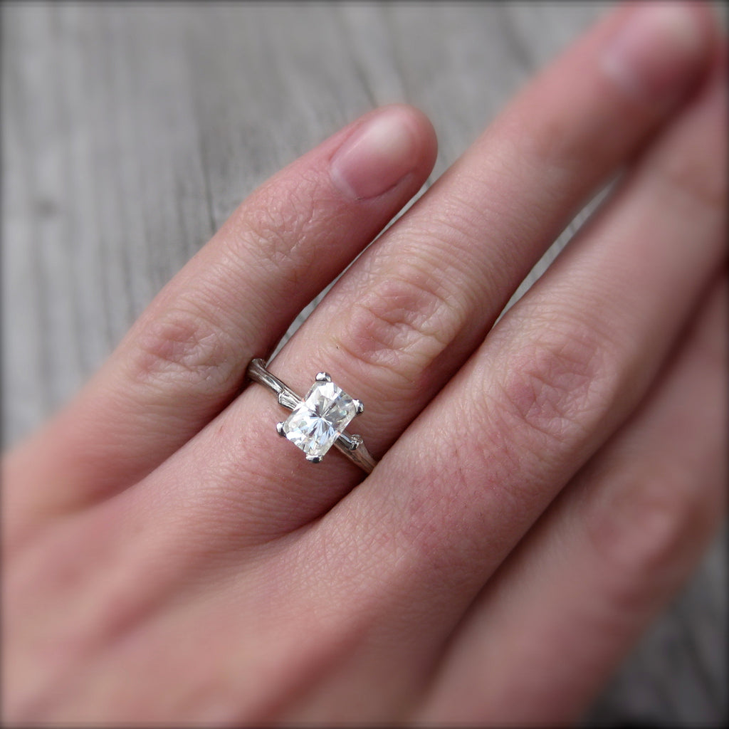 Radiant Emerald Moissanite Twig Engagement Ring, Kristin Coffin