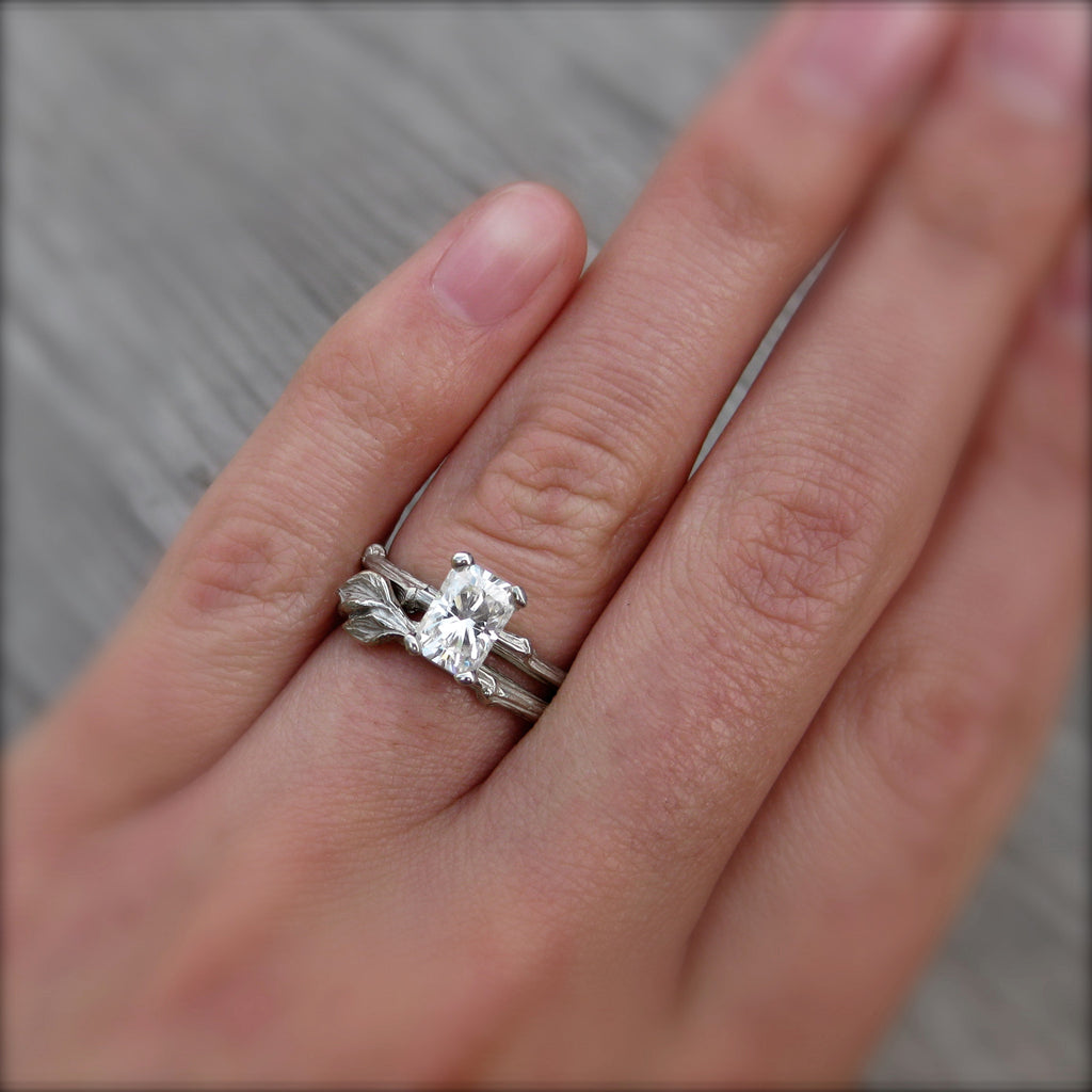 Radiant Emerald Moissanite Twig Engagement & Wedding Rings, Kristin Coffin