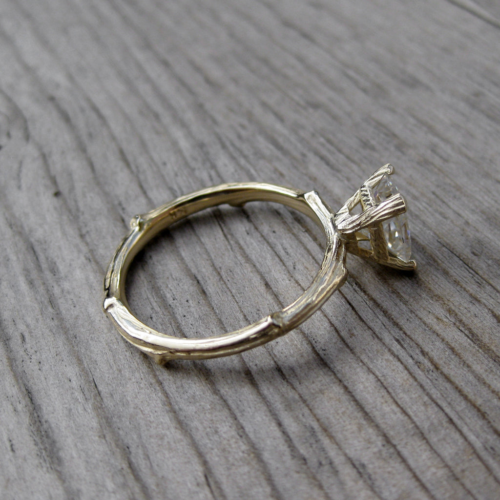Radiant Moissanite Twig Engagement Ring, Kristin Coffin, Side view