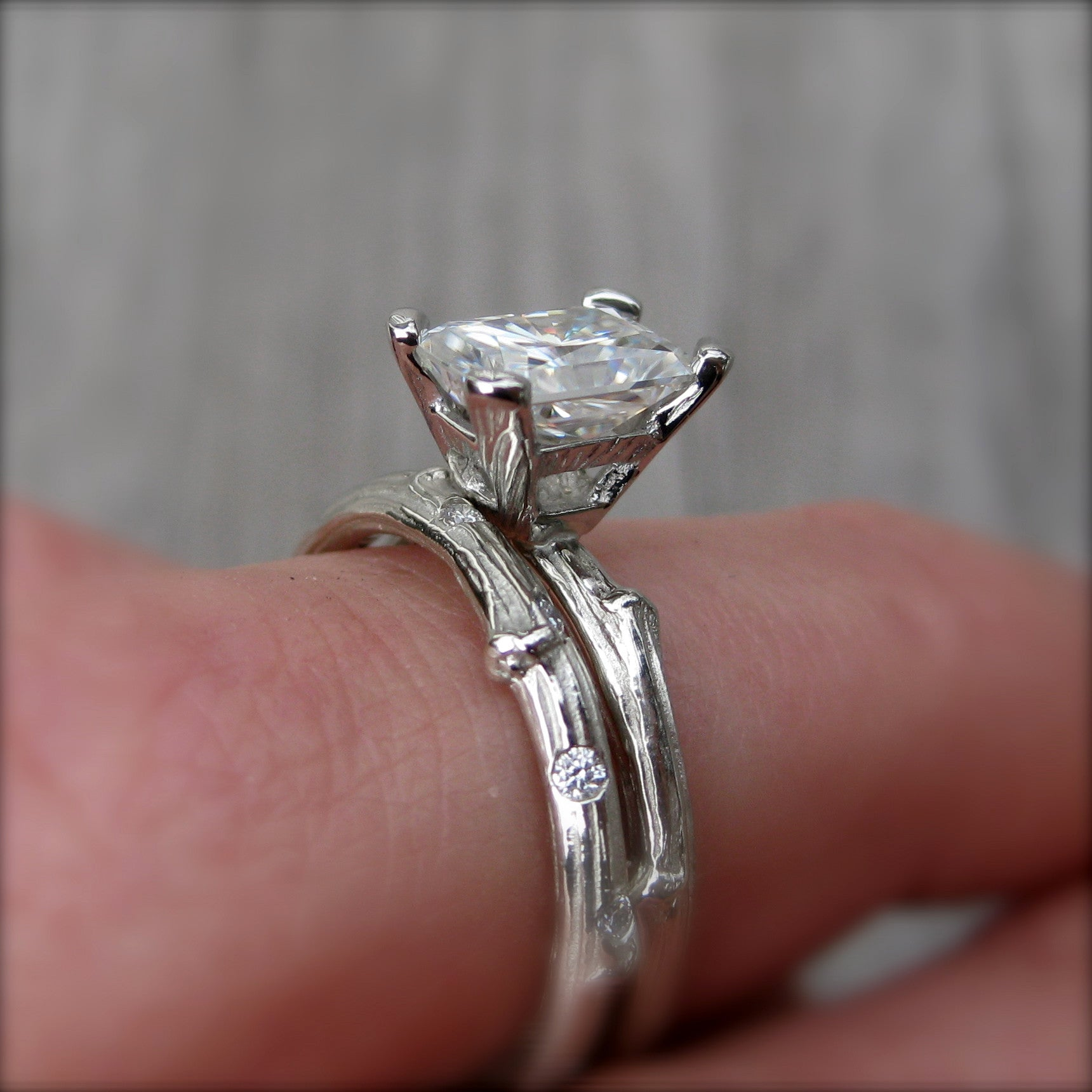 ring gold wedding promise moissanite radiant engagement gray thin pave rings stone cut rose diamond