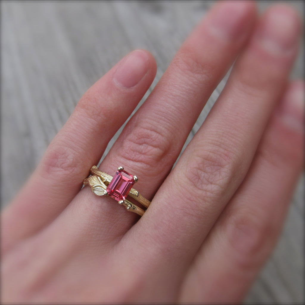 Padparadscha Sapphire Twig Engagement Ring (Ready to Ship)