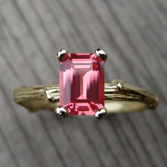 <center><strong>・ROSEMARY・</strong><br></center> Padparadscha Sapphire Twig Ring, 1.25ct (Ready to Ship, size 6.75)