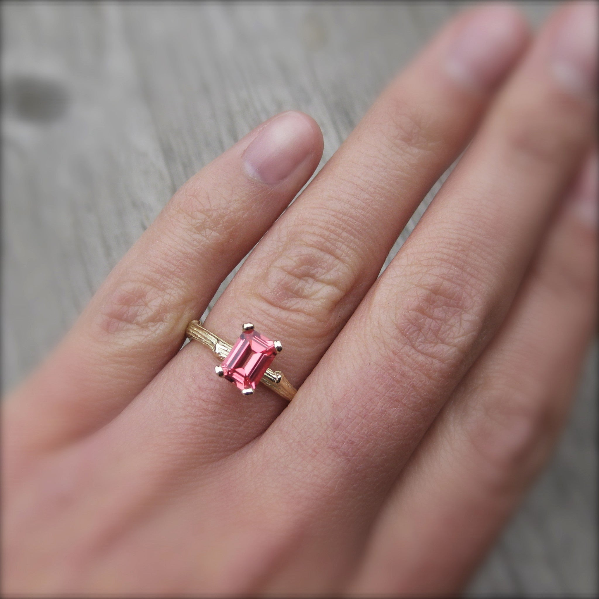 Emerald Cut Padparadscha Sapphire Twig Engagement Ring - Kristin ...