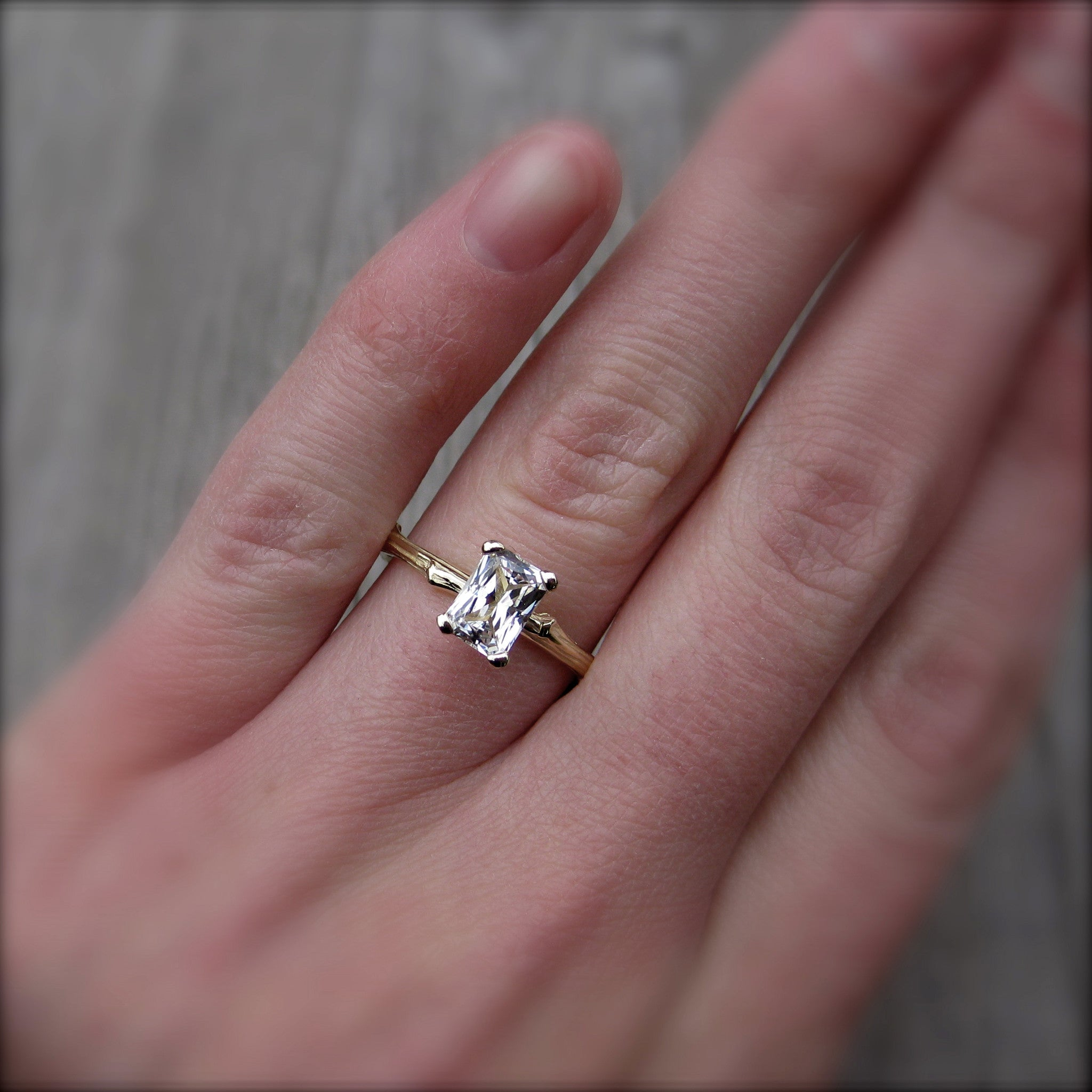 Radiant Cut White Sapphire Twig Engagement Ring 1 carat Kristin