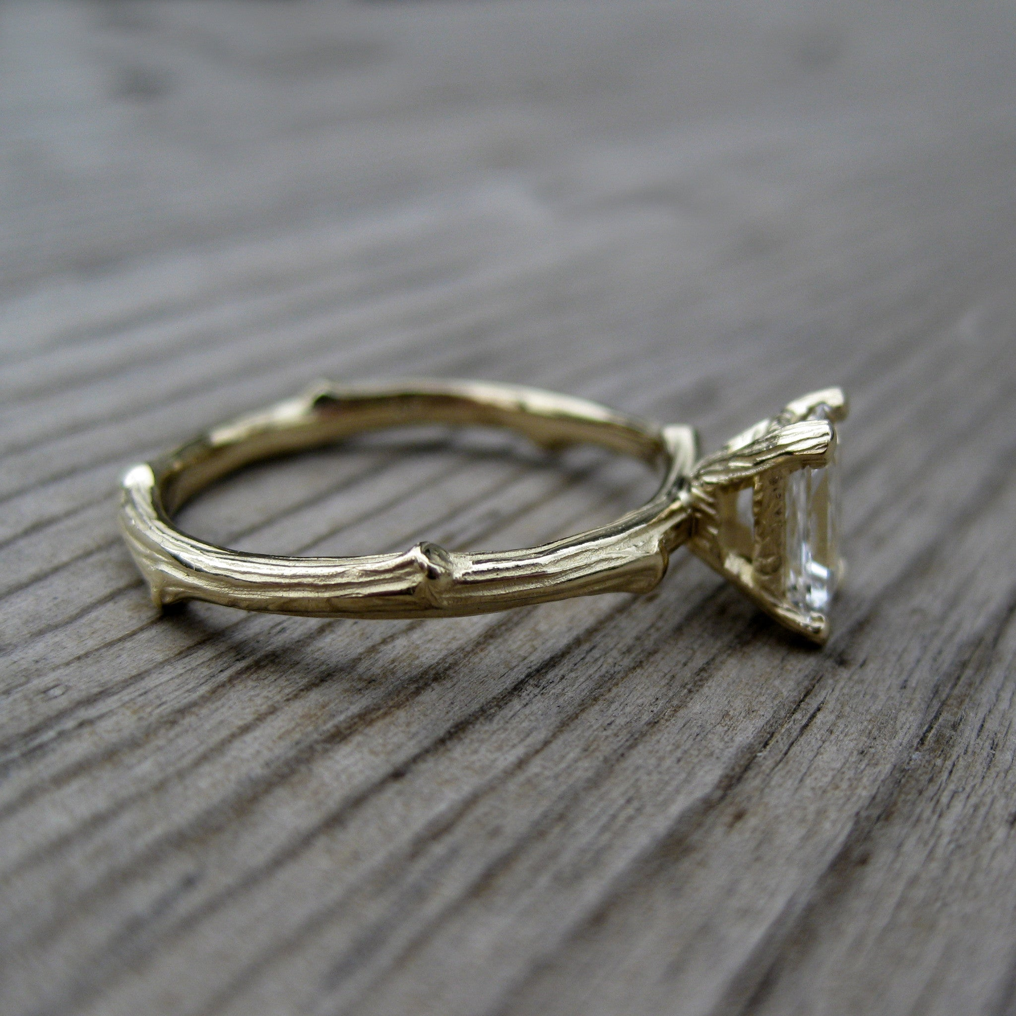 ring gold products rings wedding or engagement narrow twig pine branch yellow rose