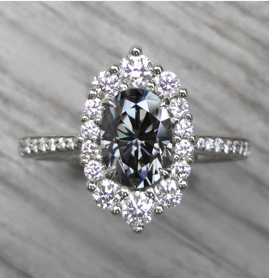 <center><strong>・SOFIA・</strong><br></center> Oval Iconic™ Grey Moissanite, Diamond Halo & Band (1.36ct+)