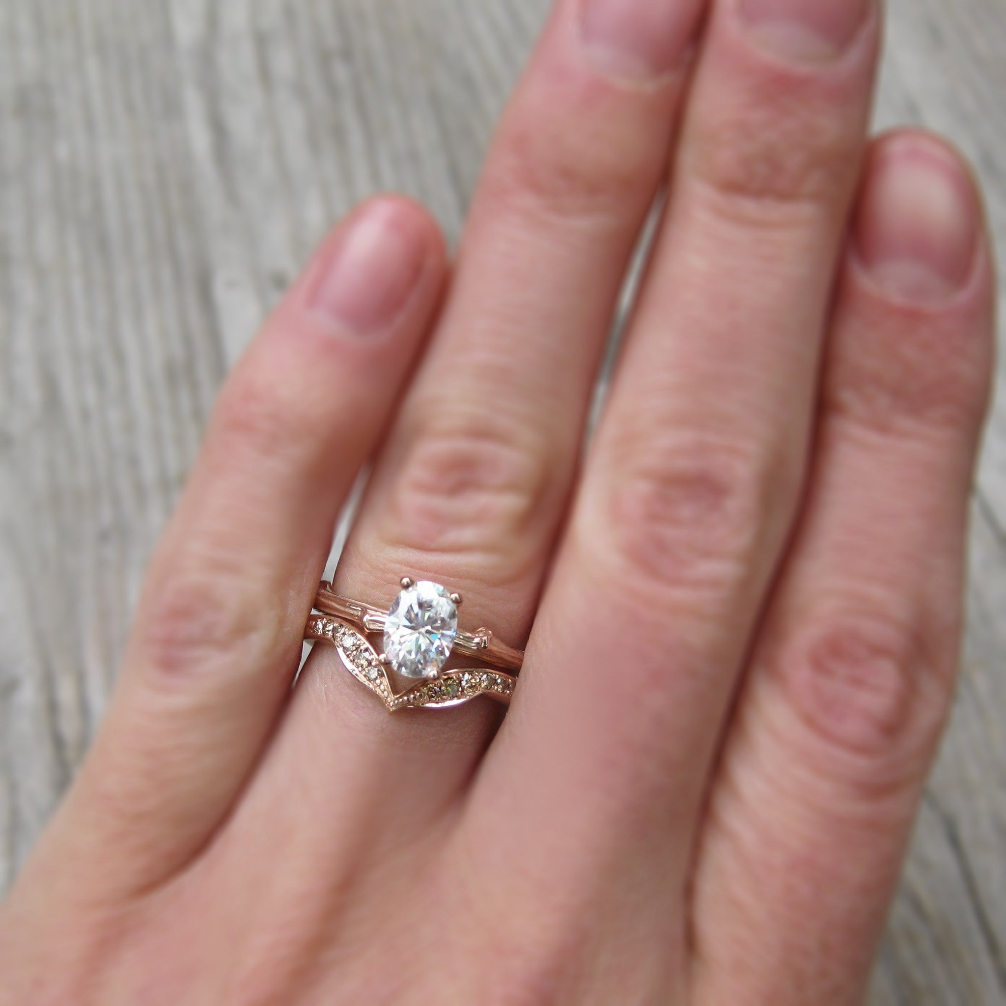 Oval Forever One or Supernova Moissanite Twig Engagement Ring ...