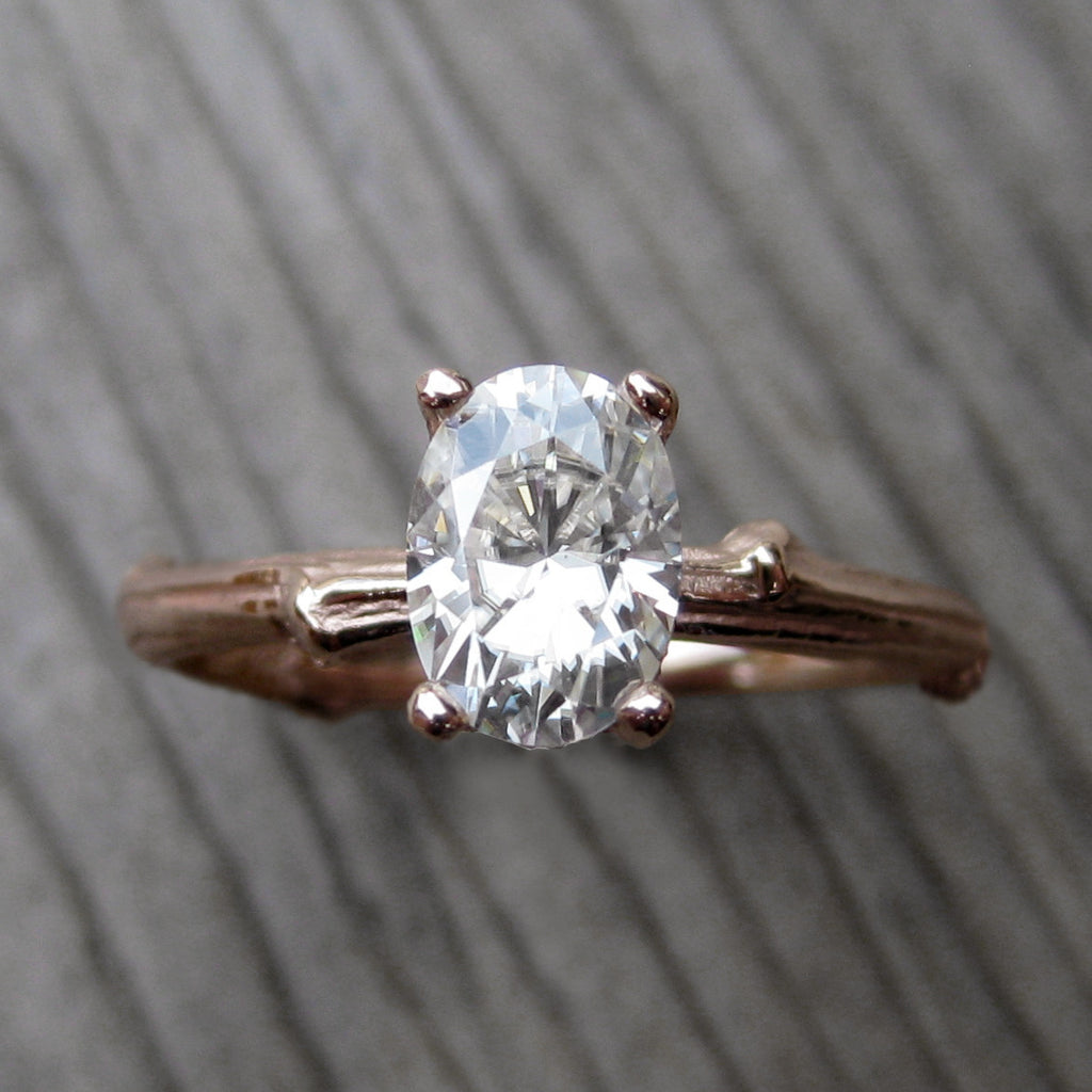 Oval Forever One Moissanite Twig Engagement Ring in 14k rose gold, .9carat