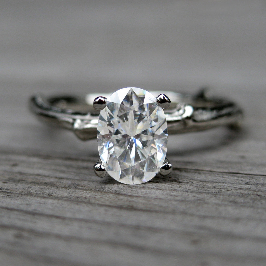 Oval Forever One Moissanite Twig Engagement Ring, .9carat