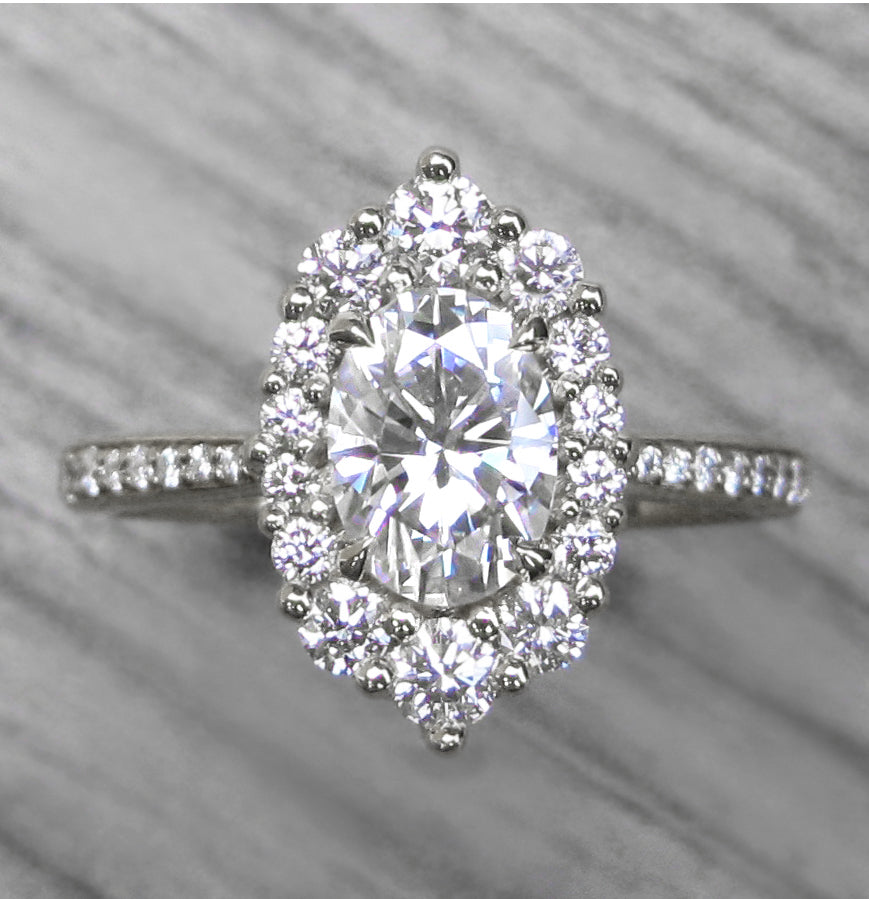 <center><strong>・SOFIA・</strong><br></center>Oval Moissanite, Diamond Halo & Band (1.36ct+)