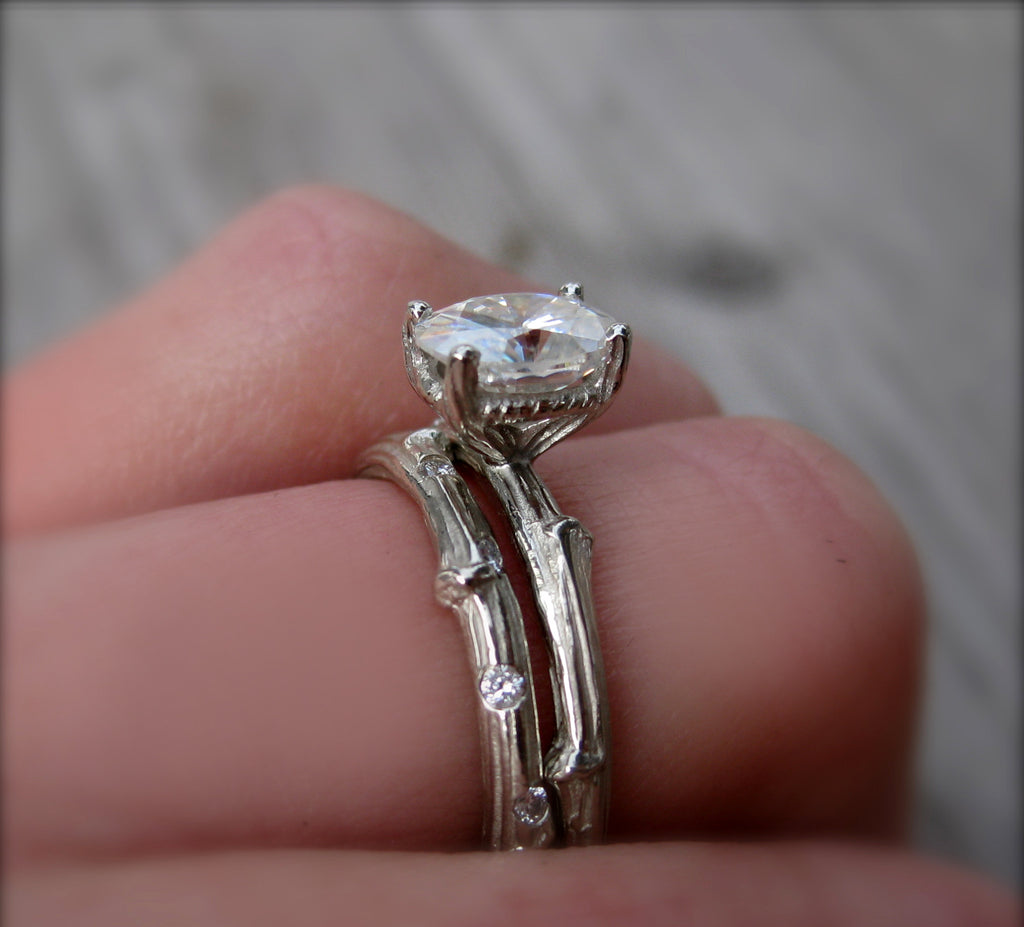 Oval Forever Brilliant Moissanite Twig Engagement Ring, .9carat