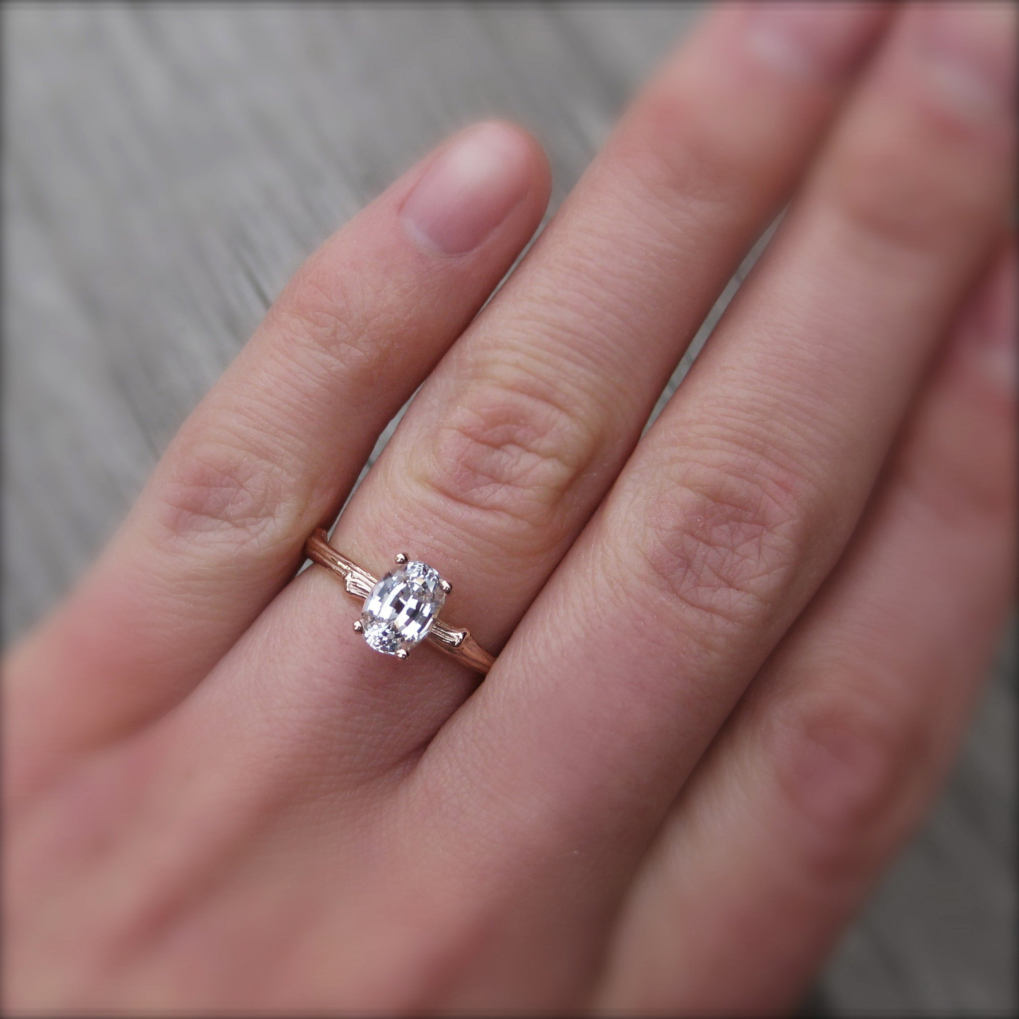 Oval White Sapphire Twig Engagement Ring 1 carat Kristin Coffin