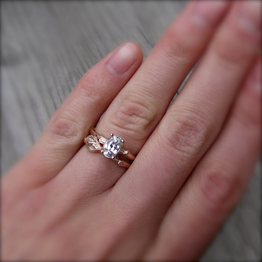 Oval White Sapphire Twig Engagement Ring (1ct)