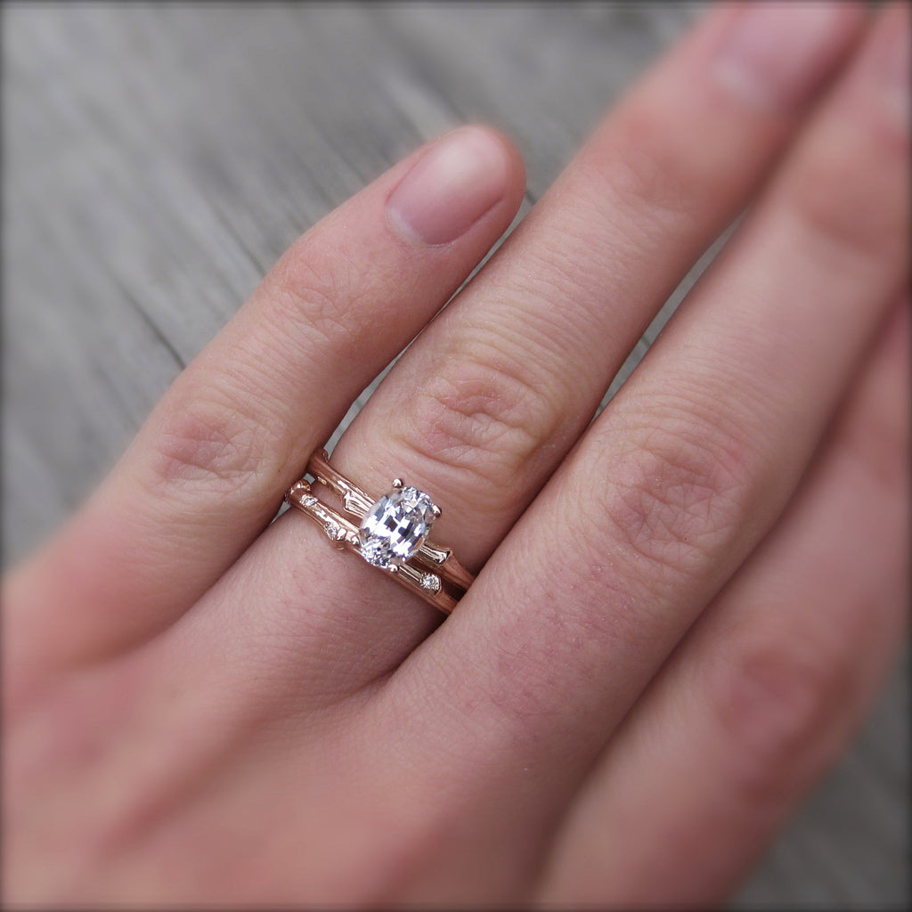 Oval White Sapphire Twig Engagement Ring (Ready to Ship)
