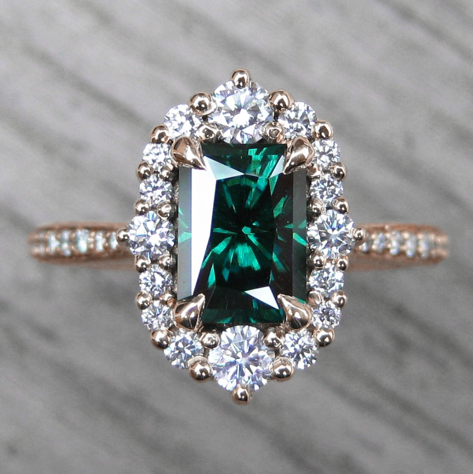 <center><strong>・ADELINE・</strong><br></center>Charles & Colvard Dark Green Moissanite Center, Diamond Halo (1.53ctw+)