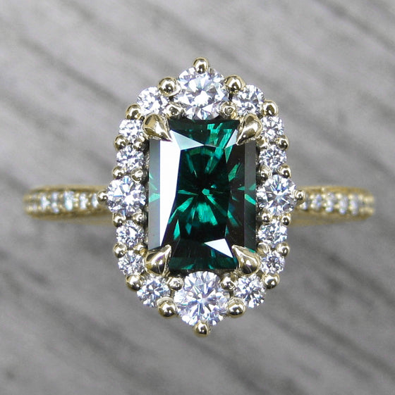 <center><strong>・ADELINE・</strong><br></center>Charles & Colvard Dark Green Moissanite Center, Diamond Halo (1.64ctw, Ready to Ship)