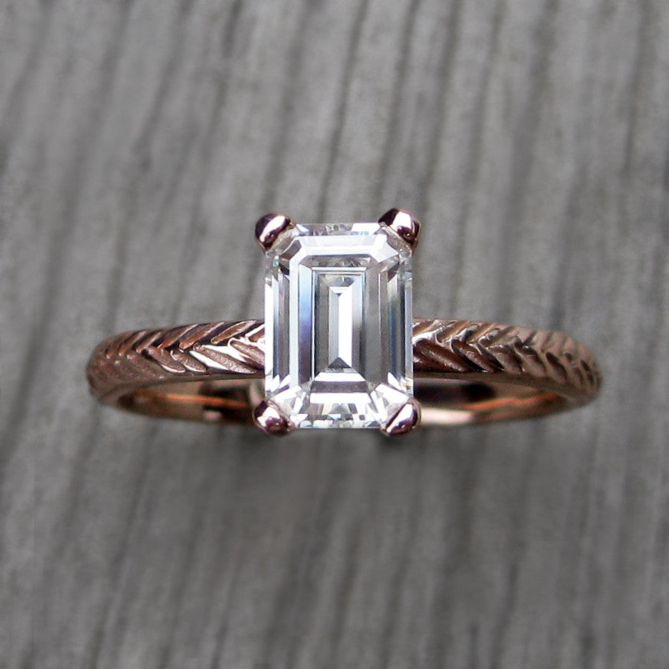 Emearld Cut Forever Brilliant Moissanite Twig Engagement Ring in rose gold; 1carat