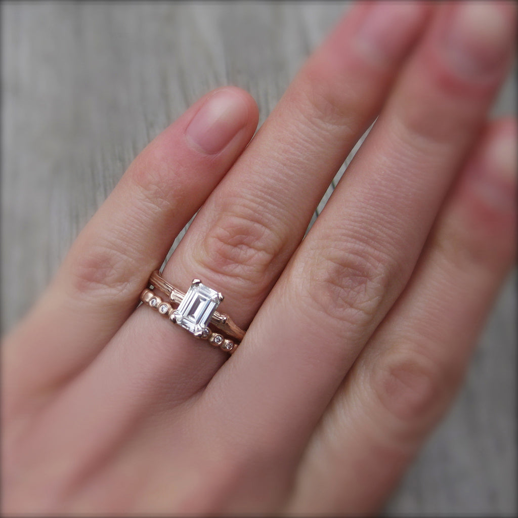 Stackable twig engagement ring with emerald cut moissanite with branch wedding band