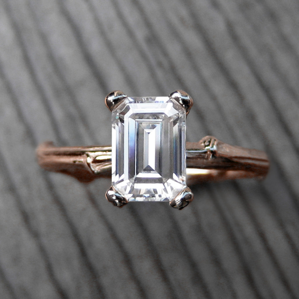 1ct Emerald Cut Forever One Moissanite Twig Engagement Ring in rose gold