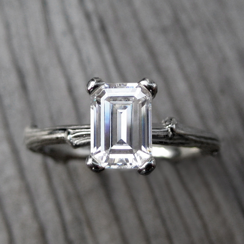 1ct Emerald Cut Forever One Moissanite Twig Engagement Ring in white gold