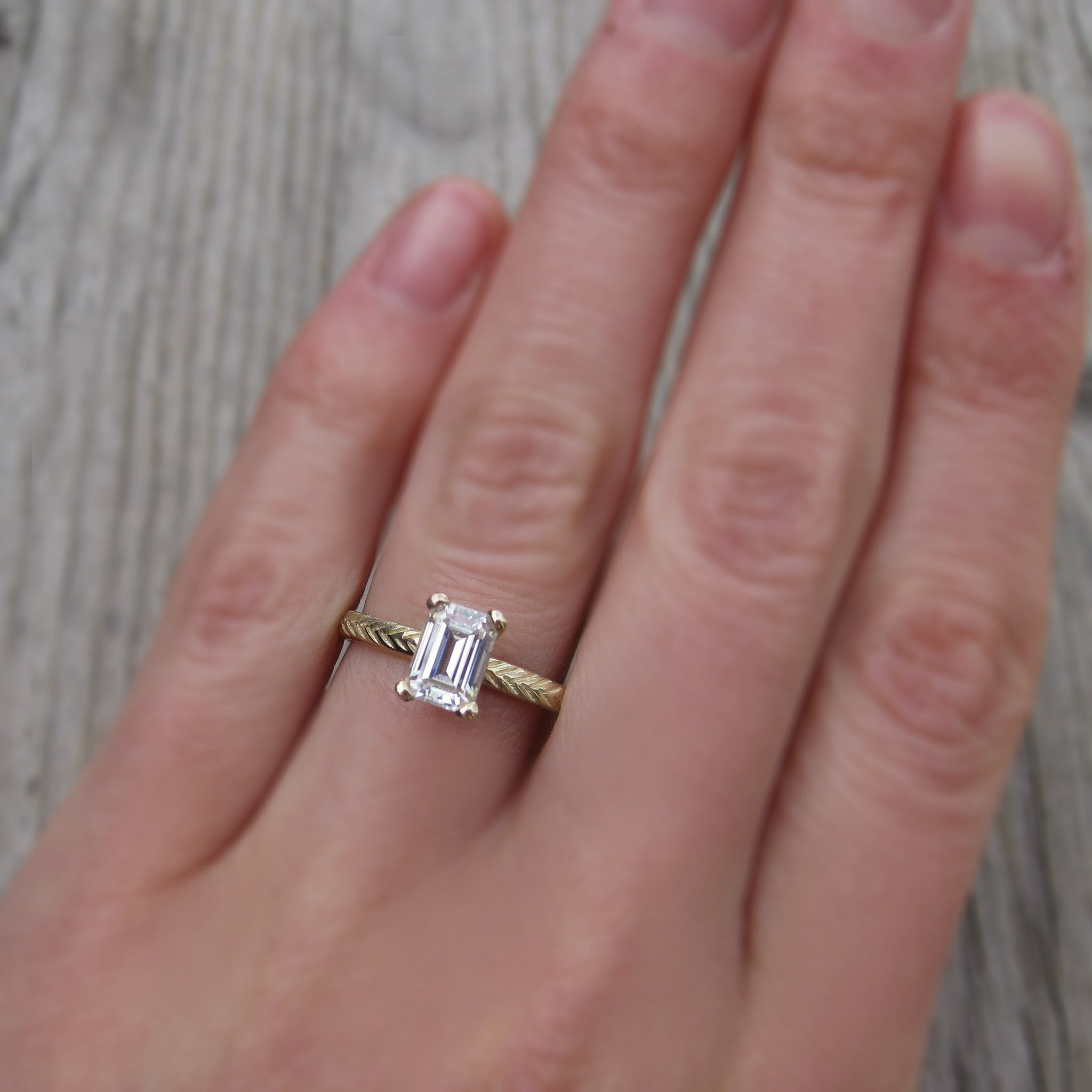 Emearld Cut Forever One or Supernova Moissanite Twig Engagement Ring
