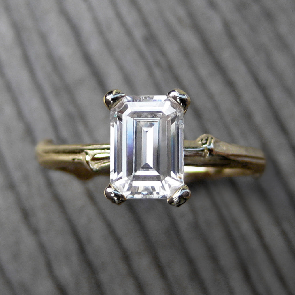 1ct Emerald Cut Forever One Moissanite Twig Engagement Ring;