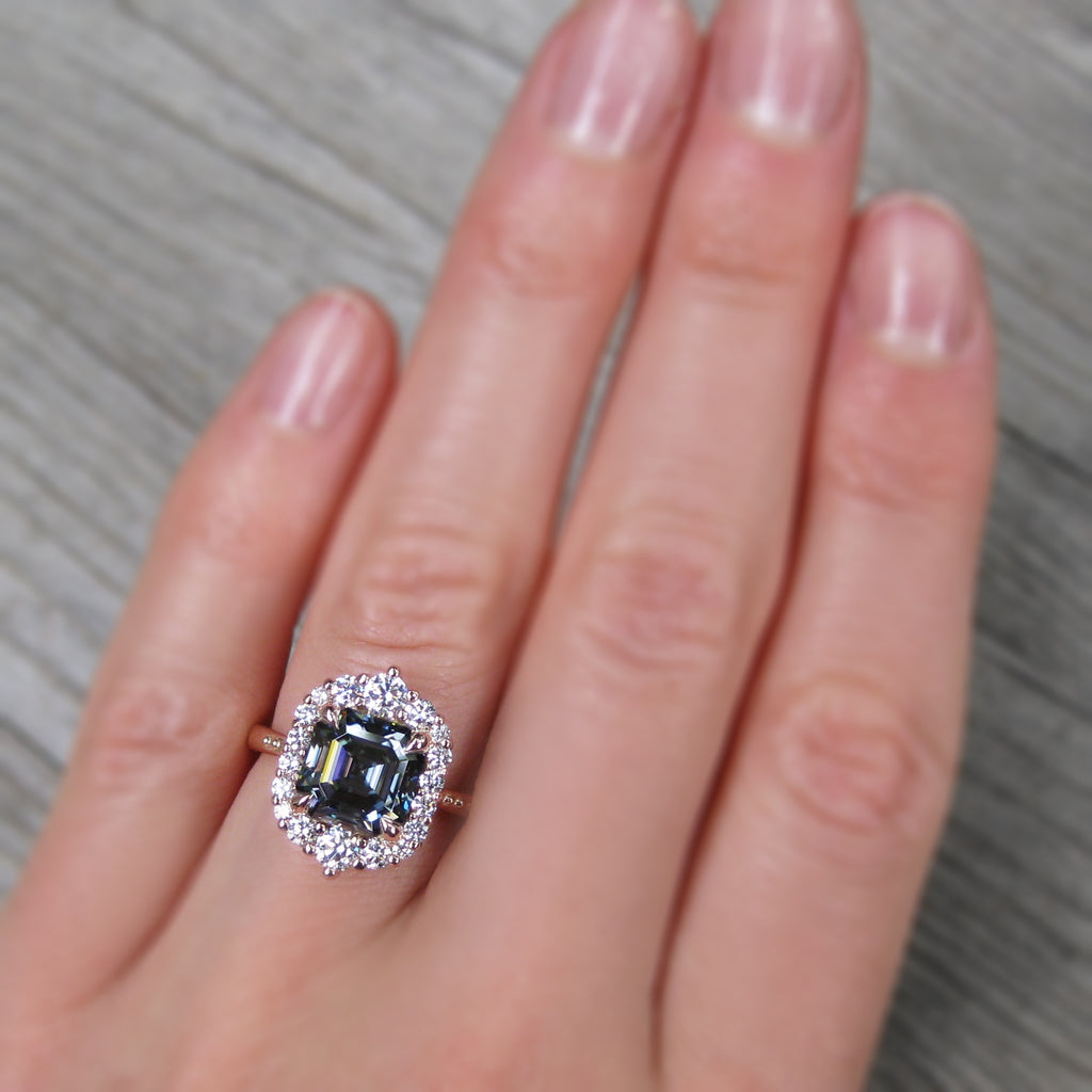 <center><strong>・ROSALIND・</strong><br></center>Asscher Iconic™ Grey Moissanite, Diamond Halo (2.8ct, Ready to Ship)