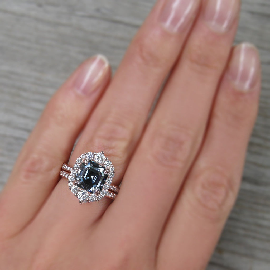 <center><strong>・ROSALIND・</strong><br></center>Asscher Iconic™ Dark Grey Moissanite Center, Diamond Halo (2.8ctw+)