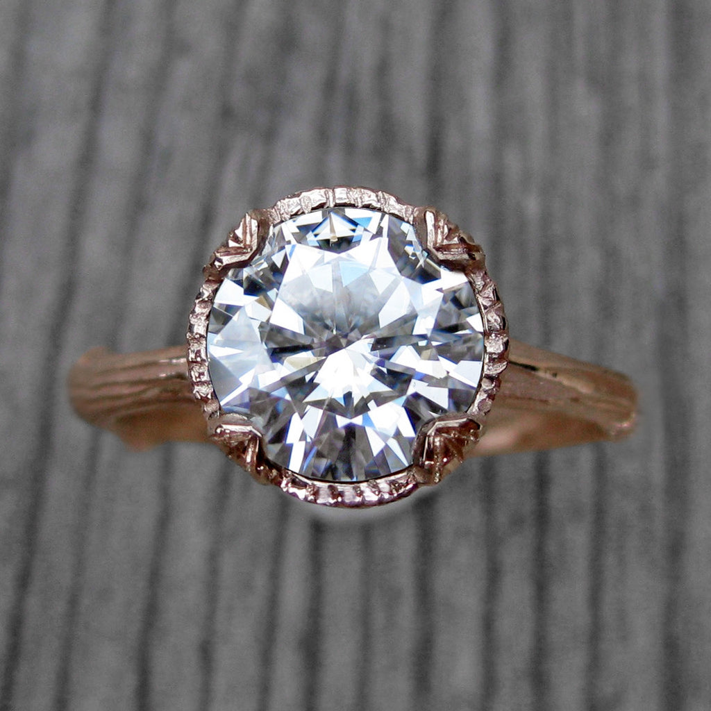 Forever One™ or Supernova™ Moissanite Twig Engagement Ring, Carved Floral Setting (2ct)