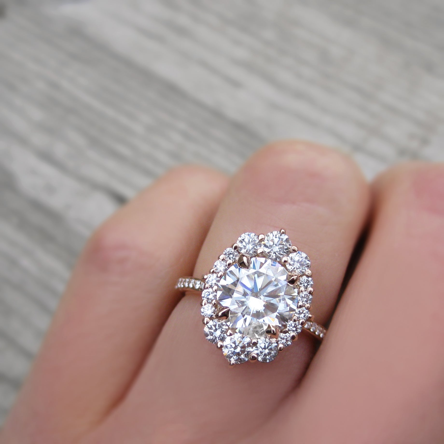 Moissanite Engagement Ring with Diamond Halo & Pavé Band (2.65ct ...