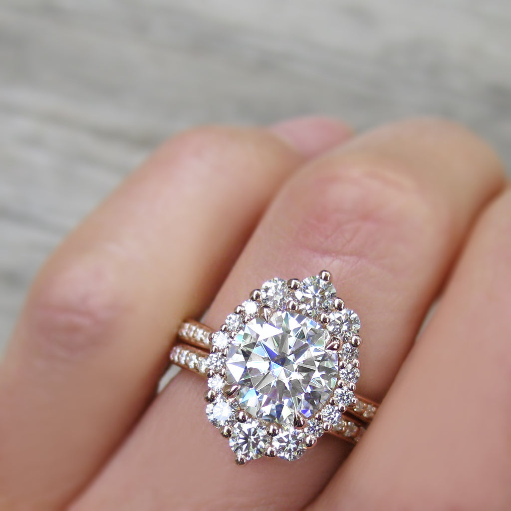 Moissanite Halo Ring in Rose gold With Pavé Diamond Band - Antique Inspired