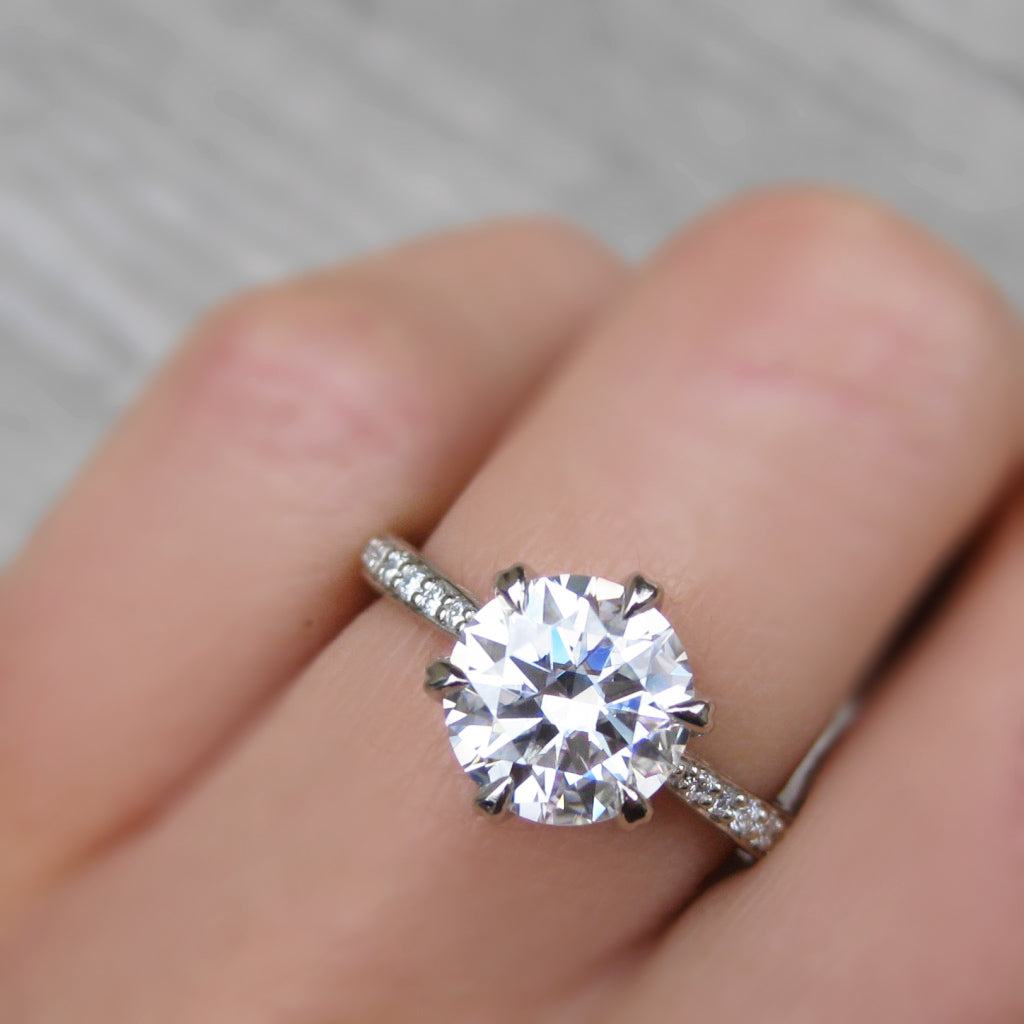 <center><strong>・CAMILLE・</strong><br></center>Moissanite Center, Twig Textured Diamond Band (2ct Center, Ready to Ship)