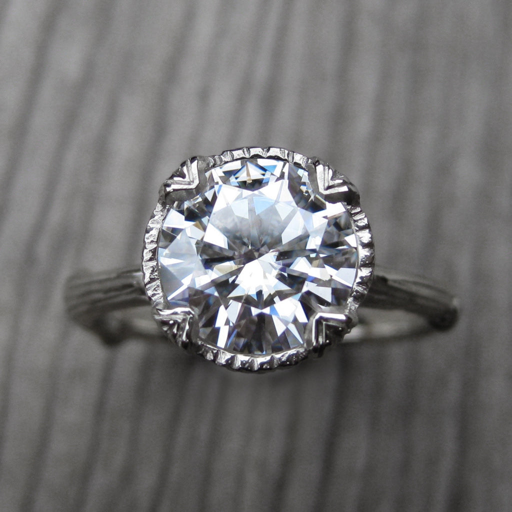 Round Forever Brilliant Moissanite Twig Engagement Ring; 2ct