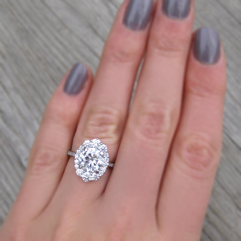 Forever One™ or Supernova™ Moissanite Engagement Ring with Diamond Halo + Pavé Band (2.65ct +)