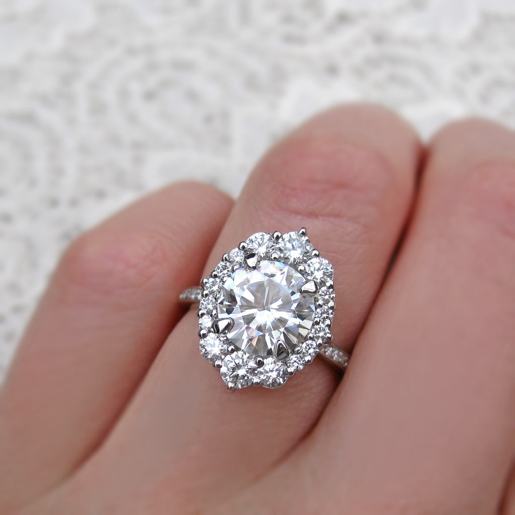 Top View of 2.5 carat halo moissanite engagement ring in choice of rose or white gold