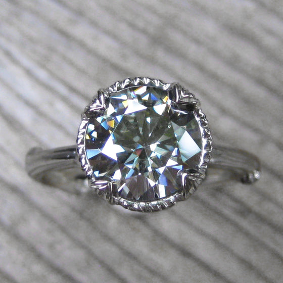 2ct (8mm) grey moissanite twig engagement ring in white gold
