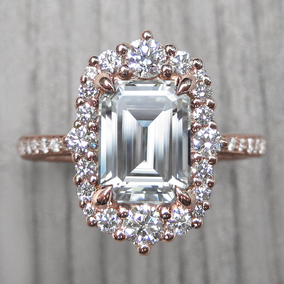 ・ADELINE・Emerald Cut Moissanite, Diamond Halo & Band (2 27ct+)
