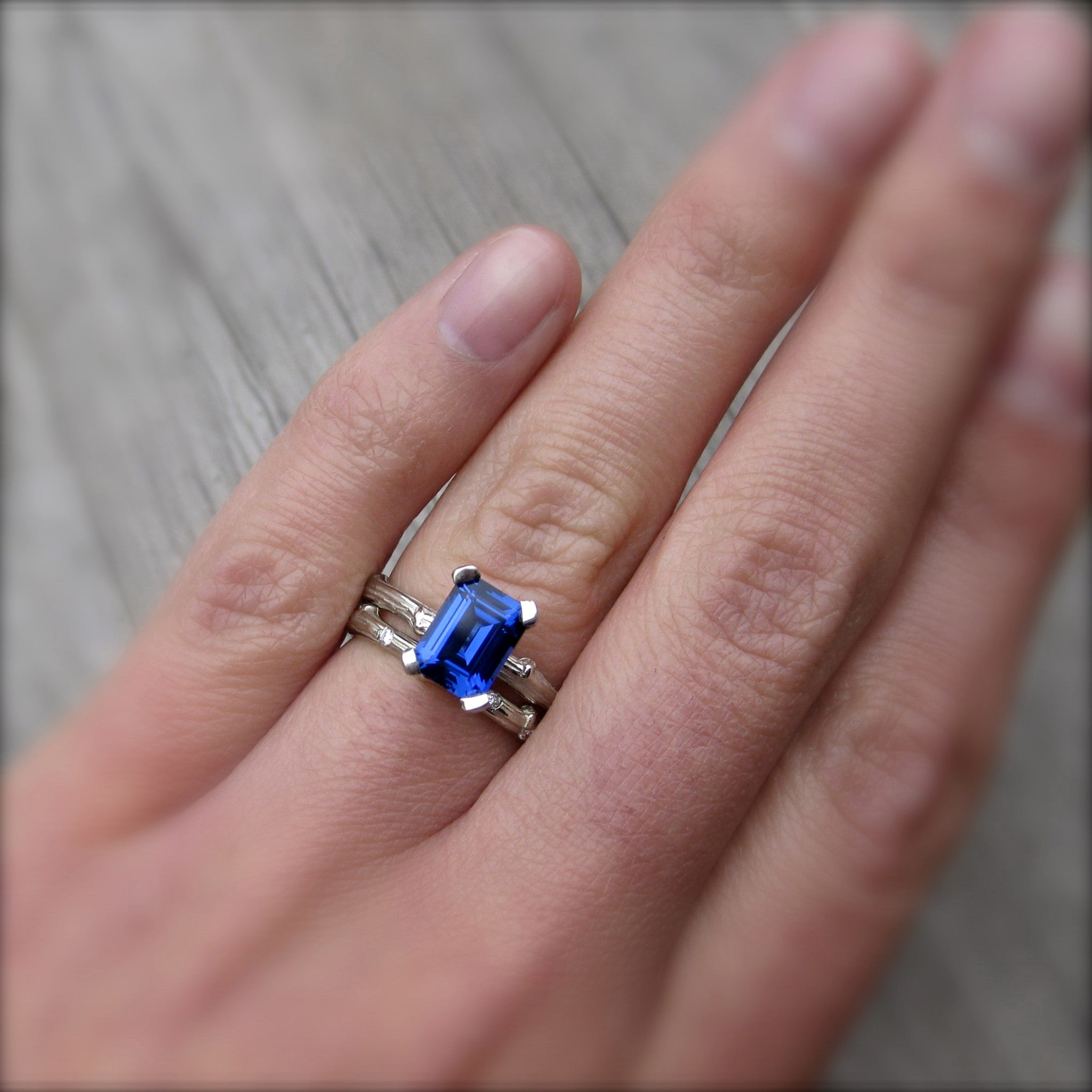 Emerald Cut, Cultured Blue Sapphire, Twig Engagement Ring; 2.15ct ...