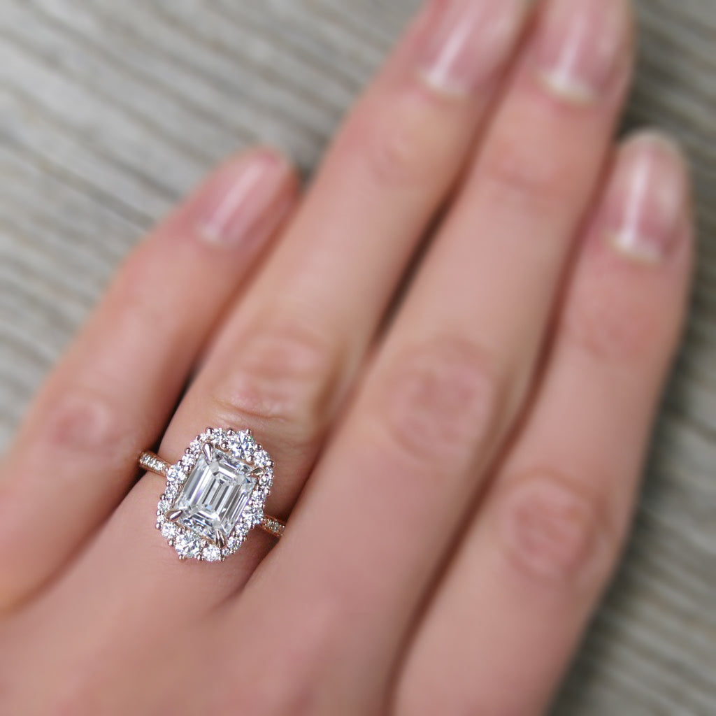 Antique-inspired 2ct emerald cut lab-grown diamond halo ring