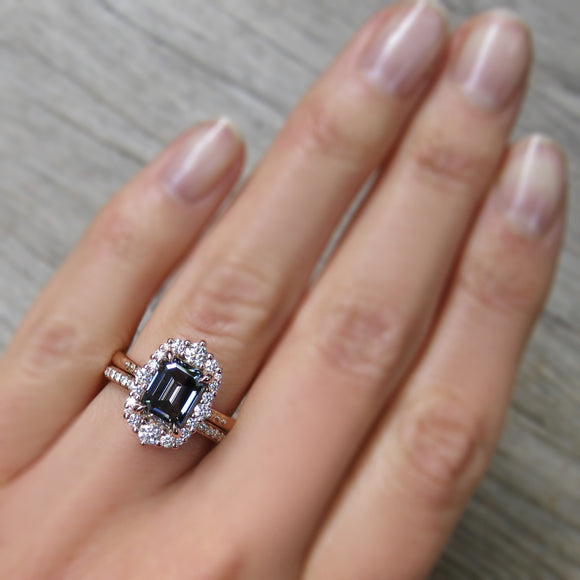 Emerald cut Iconic Grey Moissanite Diamond Halo Ring in Rose Gold